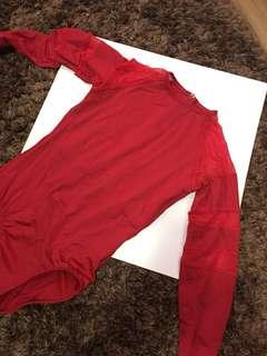 Cinderelle Dancewear Red Mesh Leotard