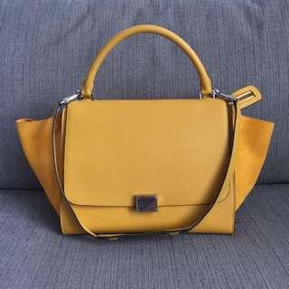 Authentic Celine Trapeze Luggage Bag Pebbled Leather Sunshine Yellow