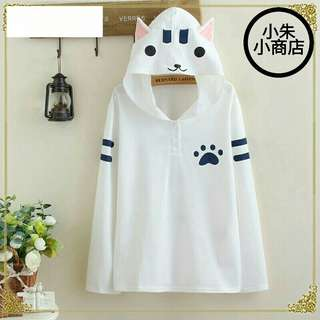 [PO] Japanese Style Mori Girl Cute Cat Ears Hooded Loose Long Sleeve T-Shirt Gray/White Cotton Causal Women Autumn Top