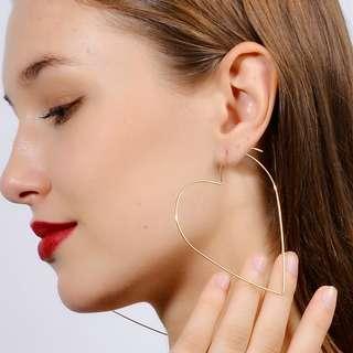 big heart earrings anting hoop besar