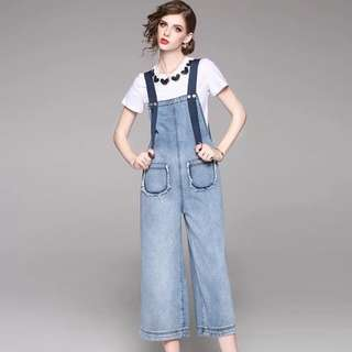 Wide straight denim overalls