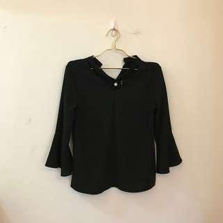 暗黑氣質款寬袖黑上衣韓妞必備