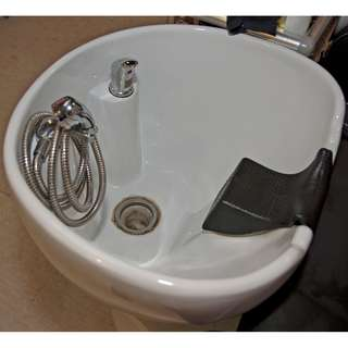 Selling shampoo chair with deep Porcelain Basin.
