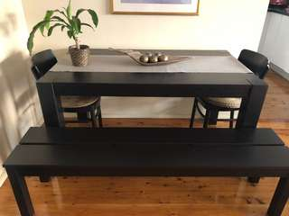 IKEA dinning table, 2 chairs and bench