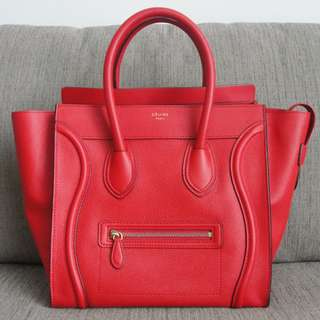 Authentic Celine Mini Luggage Bag Pebbled Leather Coquelicot Red