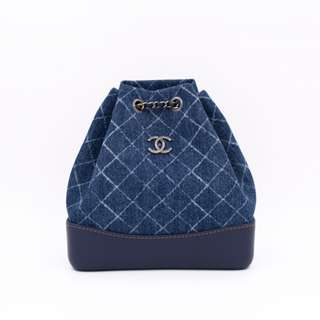 (NEW) CHANEL A94485 Y83393 SMALL DENIM GABRIELLE BACKPACK FABRIC BACKPACK 全新 背包 藍色