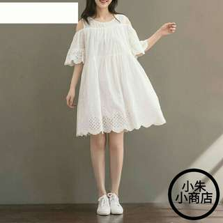 [PO] Summer Dress Japanese Style Mori Girl Off Shoulder Butterfly Sleeve Hollow Out Embroidery Cotton Linen Dress