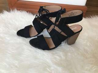 Lace up heeled ankle strap