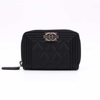 (NEW) CHANEL A80602 Y83338 BOY ZIP PURSE LEATHER COIN PURSE 全新 黑色 散紙包