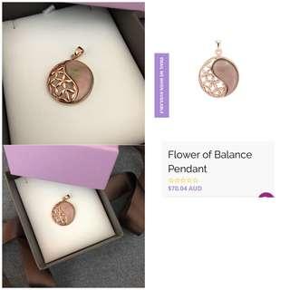 Jeoel flower of balance (mother of pearl) rose gold pendant yinyang yoga