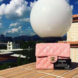 (SOLD)Chanel Vintage 粉紅色荔枝皮 Mini Flap 17cm