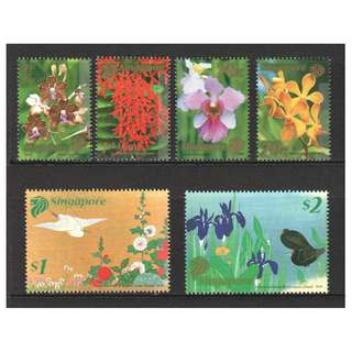 SINGAPORE 2006 FLOWERS (PAINTINGS) JAPAN JOINT ISSUE COMP. SET OF 6 STAMPS IN MINT MNH UNUSED CONDITION