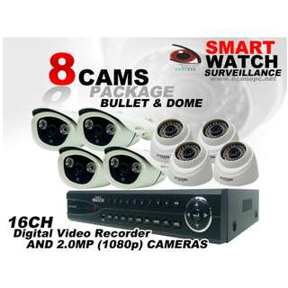 CCTV TVI 8 Camera Package with 16CH HD DVR For Monitoring