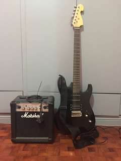Defective Electric Guitar and Marshall Amplifier