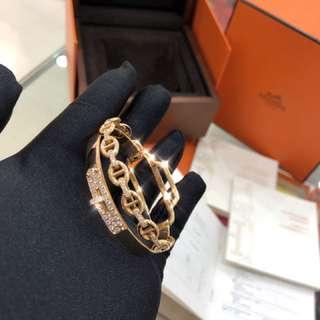 Hermes 高端首飾雙環 750金+鑽石💎玫瑰金滿鑽手鐲 , 專櫃售價 差不多30萬+ 配件齊全 , 現貨省下一台車 ‼️‼️