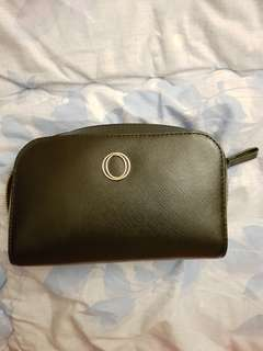 Oroton black cosmetic pouch