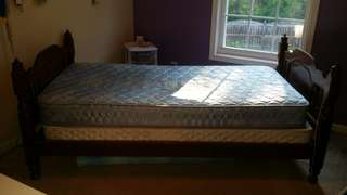 Twin Mattress, Box Spring, and Wood Frame with 2 sheet sets