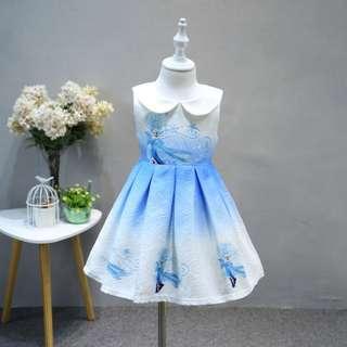 2018 Latest Summer Collection Frozen Kids Children's Girl Blue Elsa Vest Skirt Princess Dress - 2 size available 130 & 140