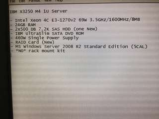 IBM x3250M4 1U server with windows server 2008r2
