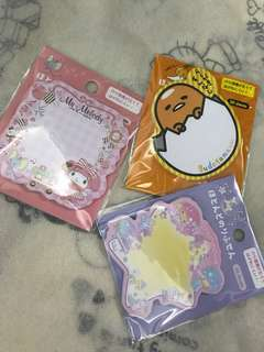 Sanrio post it memo pad assorted