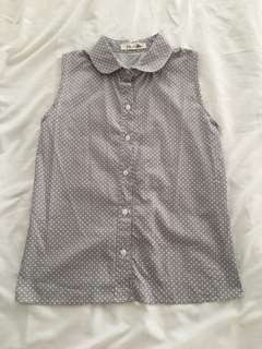 Grey Button-Down Sleeveless Blouse (w/ White Polka Dots)