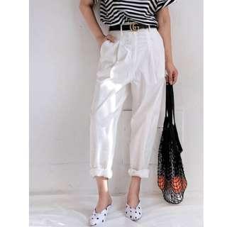 2018夏季新款 百搭高腰寬鬆長款 白色棉麻 肌理感 薄款闊腿哈倫 休閒褲