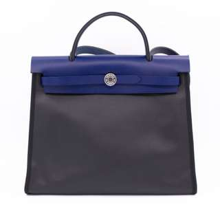 (NEW) HERMES H072069CK HERBAG ZIP CANVAS 31 TOTE BAG PHW 全新 手袋 黑色 藍色 銀扣