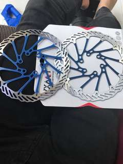 2 bicycle blue rotors for sale 160mm
