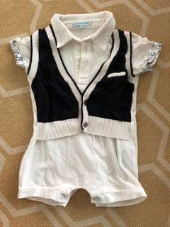 Nicholas and Bear Baby Boy formal Romper