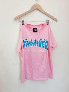 🚚 THRASHER翻玩粉色tee