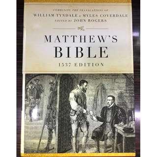1537 Edition Matthew's Bible Facsimile