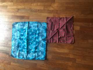 Checked tie dye handkerchief head scarf
