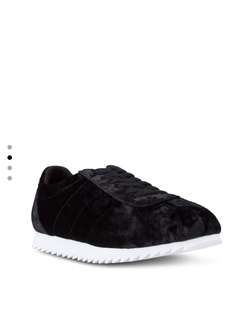 Velvet laced-up sneakers