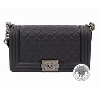 (NEW) CHANEL A67086 Y61399 BOY CAVIAR MEDIUM SHOULDER BAG SBHW 全新 手袋 黑色