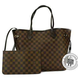 (NEW) LOUIS VUITTON N41358 DAMIER EBENE NEVERFULL W/POUCH CANVAS MM TOTE BAG GHW 全新 手袋 金扣