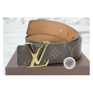 (NEW) LOUIS VUITTON M9608T MONOGRAM INITIALS MONOGRAM CANVAS 95 BELT GHW