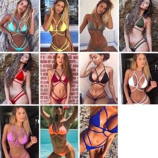 歐美時尚性感素色多繩編織交叉綁帶鏤空兩件式比基尼泳衣組