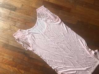 Armani Exchange pink top sleeveless with shredder cold shoulder