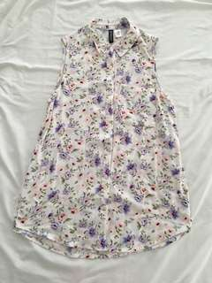 H&M Divided Floral Button-Down Tank Top