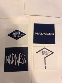 Lot of 4 madness stickers Shawn Yue 贴纸 (包平郵)