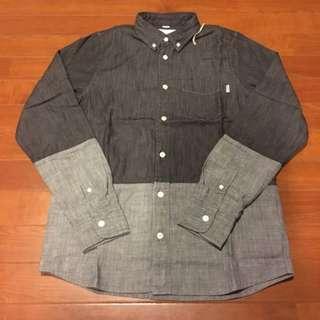 Carhartt WIP Shirt 工裝潮牌 日本限定 男長袖拼接襯衫 丹寧牛仔 都會時尚 上班族穿搭 深灰 S
