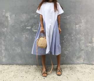 Loose Fitting Korean Stripe Long Dress
