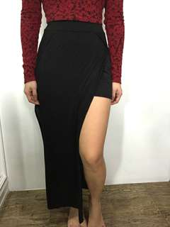 H&M black maxi skirt with side slits