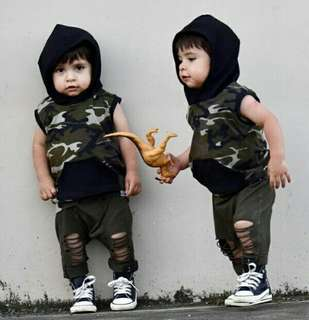🍀Baby Boy Camouflage Sleeveless Hooded Top+Pants 2pcs Set🍀