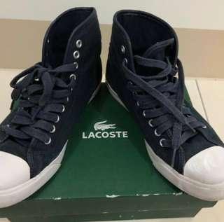 🚚 運動好物Lacoste 經典簡約高筒深藍帆布鞋