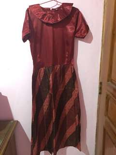 Long Dress Batik Maroon