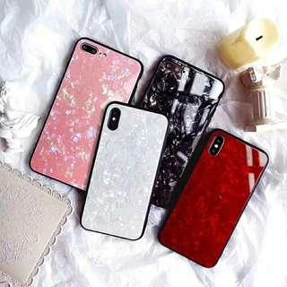 iPhone X 6s Case 7/7 Plus 8/8Plus 貝殼紋玻璃手機殼
