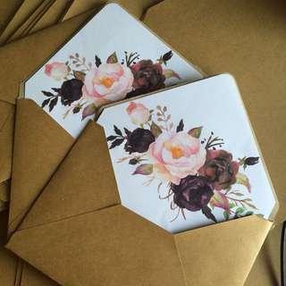 Customized kraft envelopes for invitations
