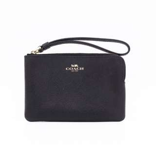 (NEW) COACH F58032 SAFFIANO LEATHER ZIP WRISTLET LEATHER SHOULDER BAG GHW 全新 手袋 黑色 金扣