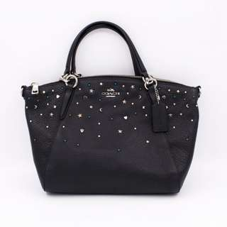 (NEW) COACH F22312 SMALL KELSEY SATCHEL WITH STARDUST STUDS LEATHER SHOULDER BAG 全新 手袋 黑色